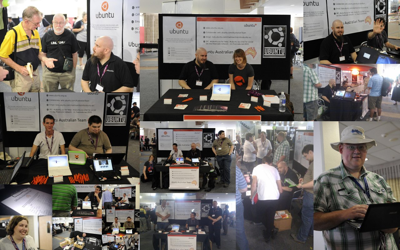 A collage of faces at LCA2011 in Brisbane