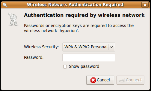 Wireless Network Authentication Required (WPA) dialog