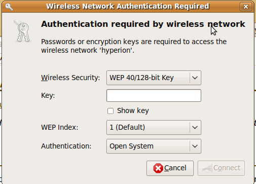 Wireless Network Authentication Required (WEP) dialog