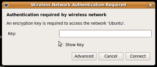 New Wireless Network Authentication Required (WEP) dialog