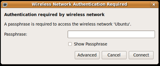 New Wireless Network Authentication Required (WPA) dialog