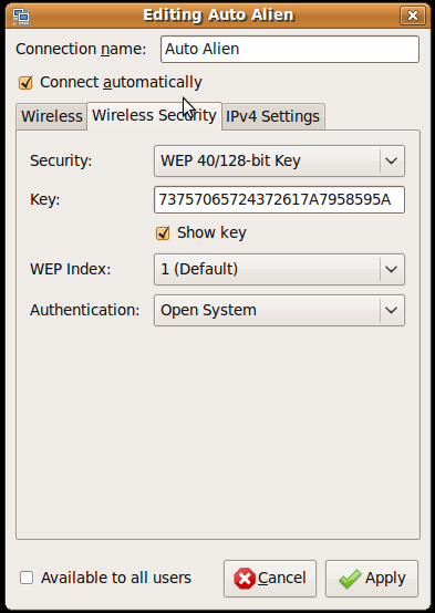 Edit Wireless Network Security Tab