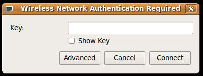 Simple Wireless Network Authentication Required (WEP) dialog
