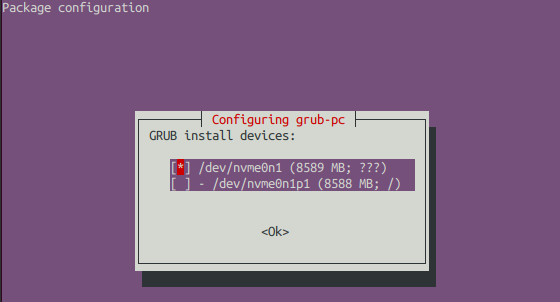 GRUB install devices: