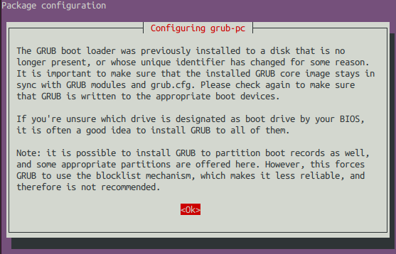 The GRUB boot loader was previously installed to a disk that is no longer present, or whose unique identifier has changed for some reason.