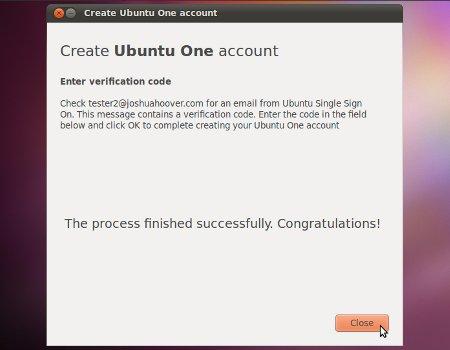 Ubuntu One SSO create account success screen
